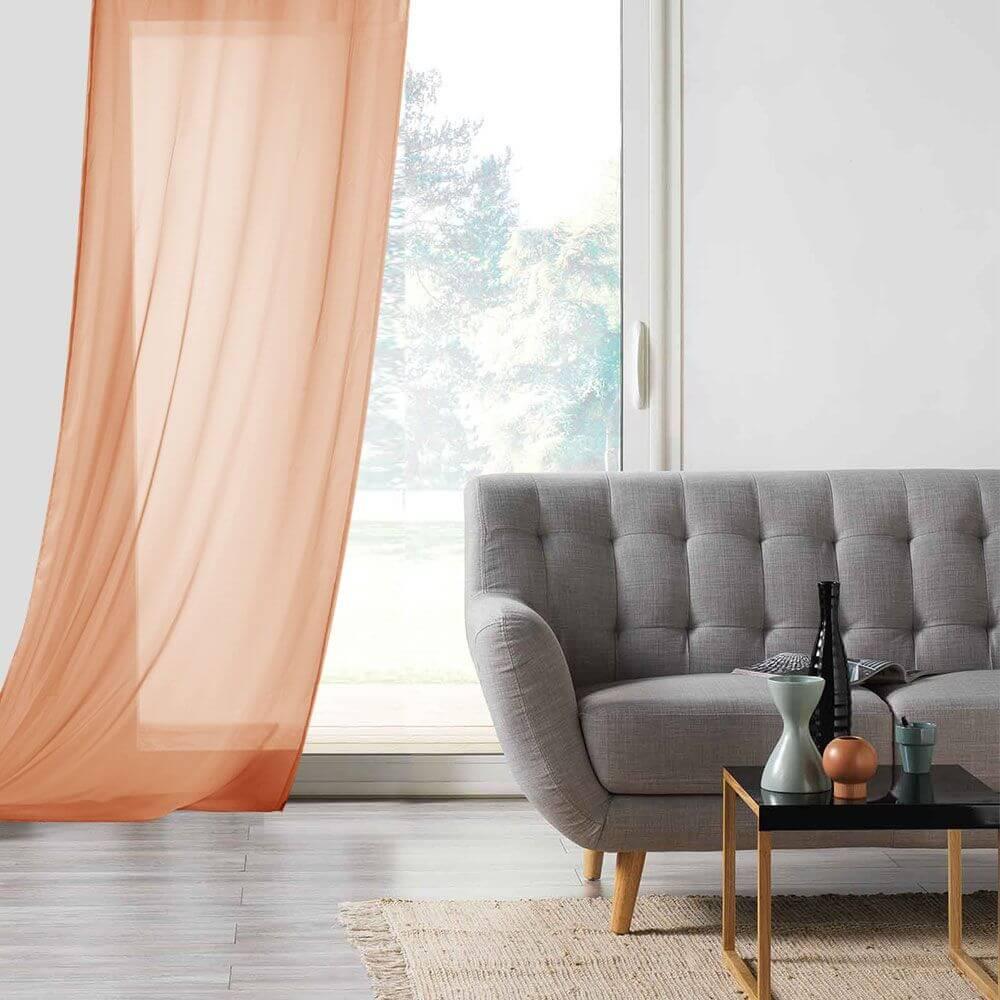 Panneau voile - Oeillets - 135 x 260 cm - Lisa - Différents coloris : Couleur:Corail