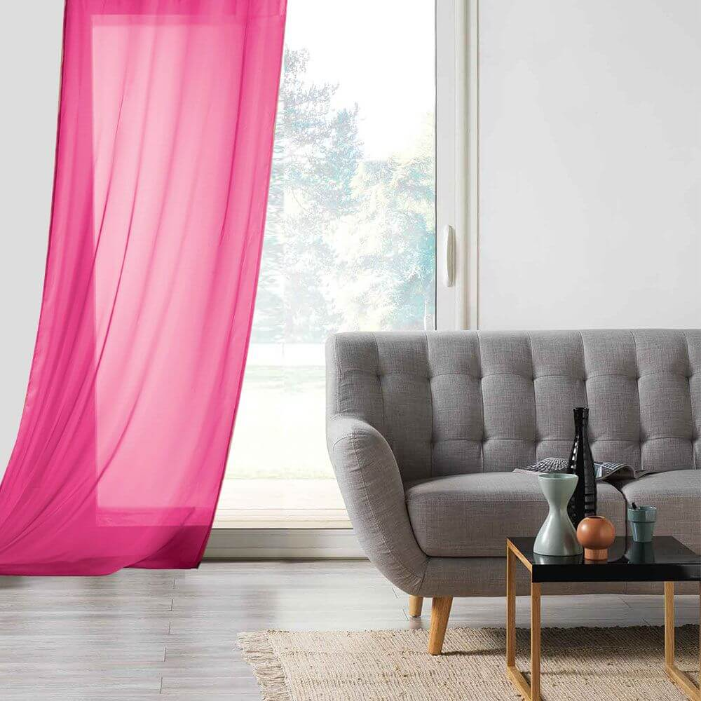 Panneau voile - Oeillets - 135 x 260 cm - Lisa - Différents coloris : Couleur:Fuchsia