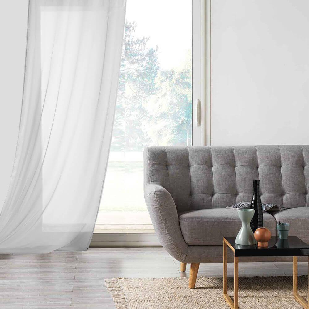 Panneau voile - Oeillets - 135 x 260 cm - Lisa - Différents coloris : Couleur:Blanc