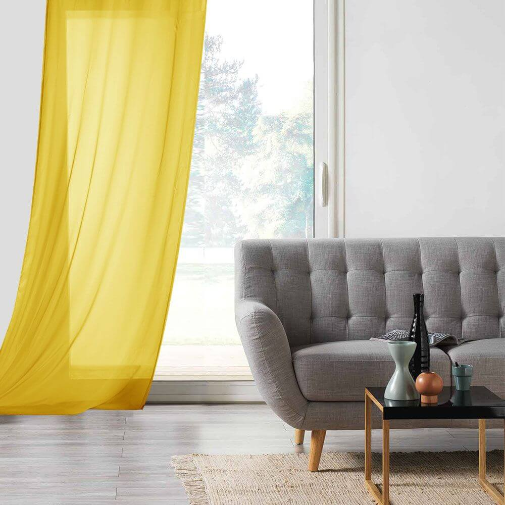 Panneau voile - Oeillets - 135 x 260 cm - Lisa - Différents coloris : Couleur:Jaune