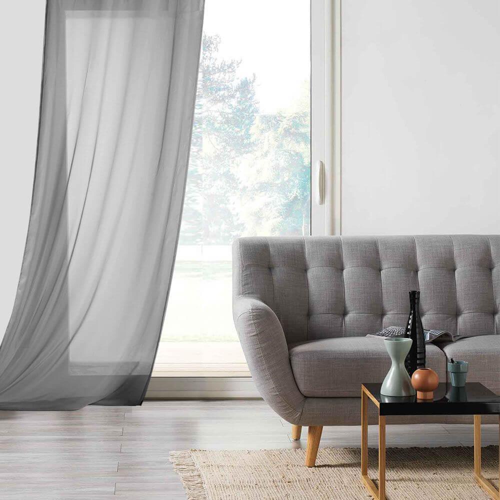Panneau voile - Oeillets - 135 x 260 cm - Lisa - Différents coloris : Couleur:Anthracite