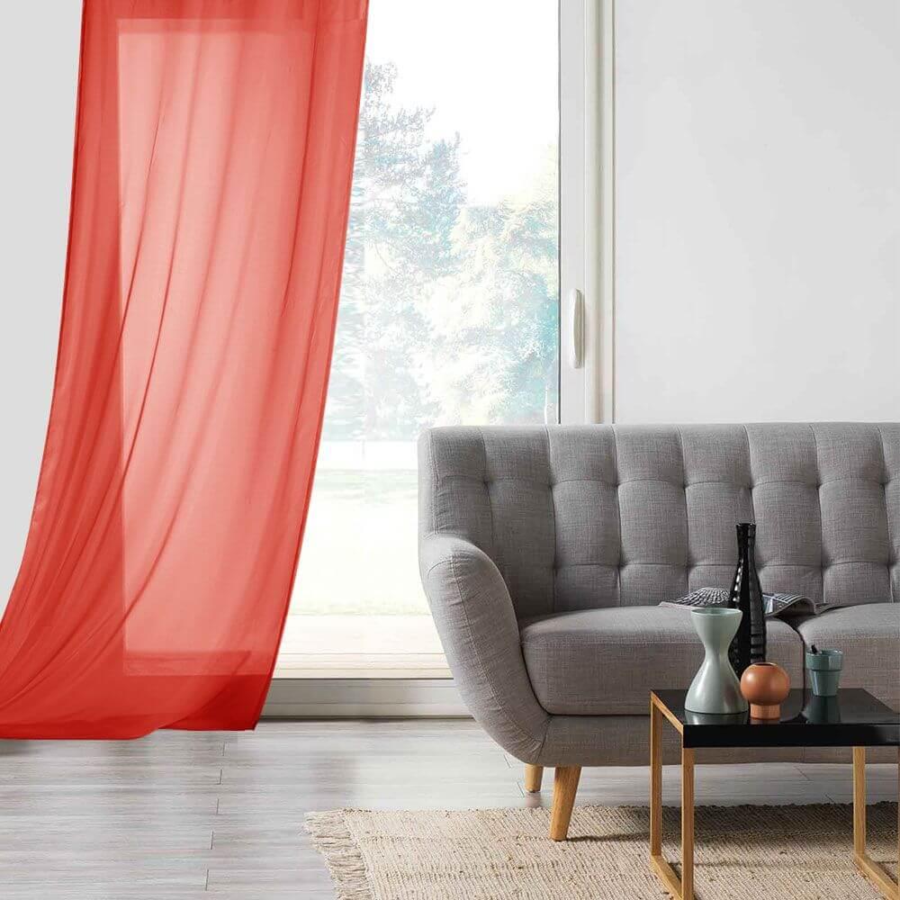Panneau voile - Oeillets - 135 x 260 cm - Lisa - Différents coloris : Couleur:Rouge