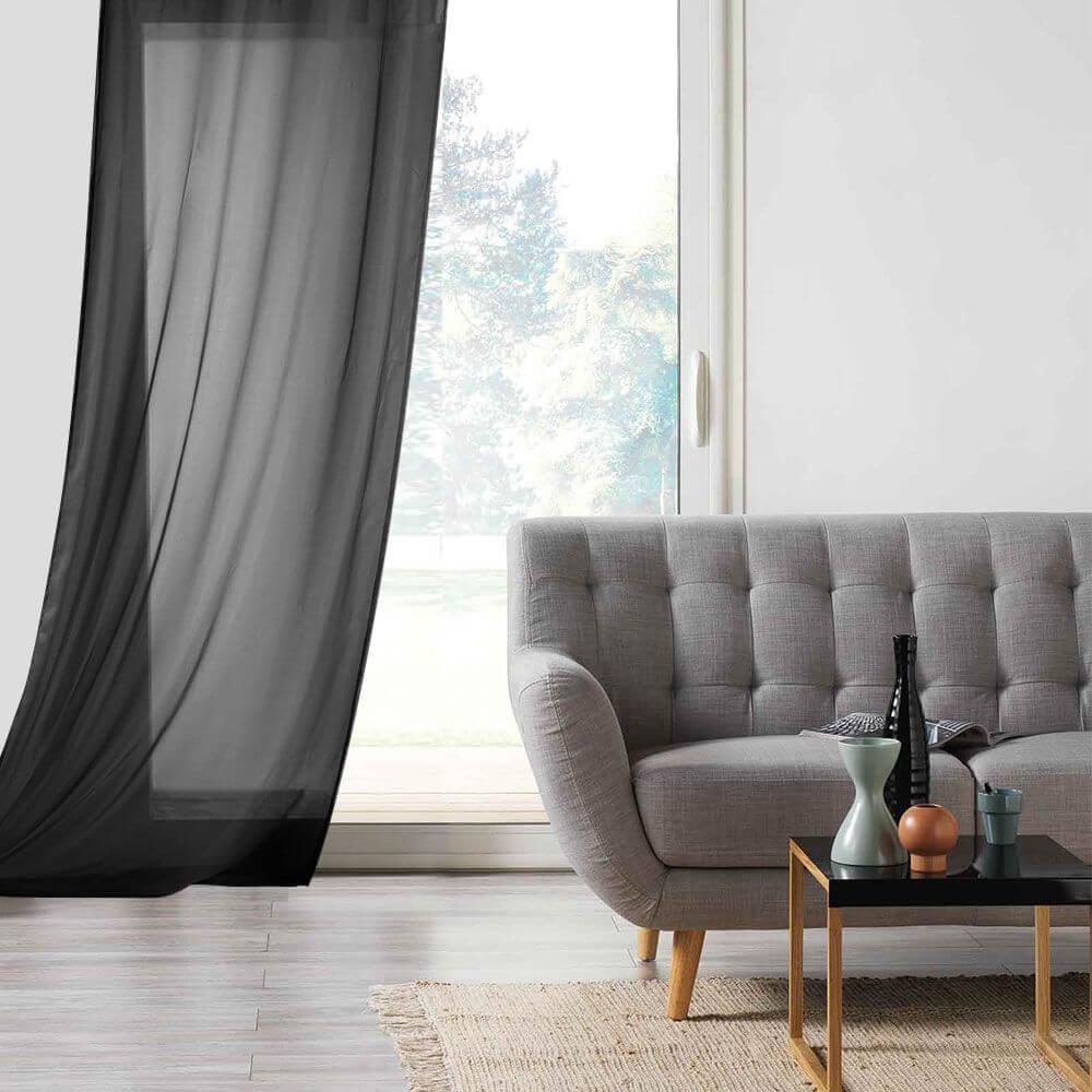 Panneau voile - Oeillets - 135 x 260 cm - Lisa - Différents coloris : Couleur:Noir