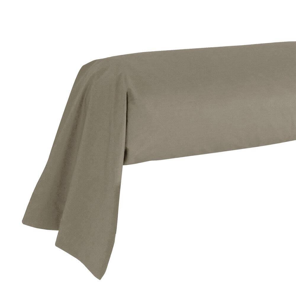 Taie de traversin - 43 x 185 cm - 100% coton - France : Couleur:Taupe