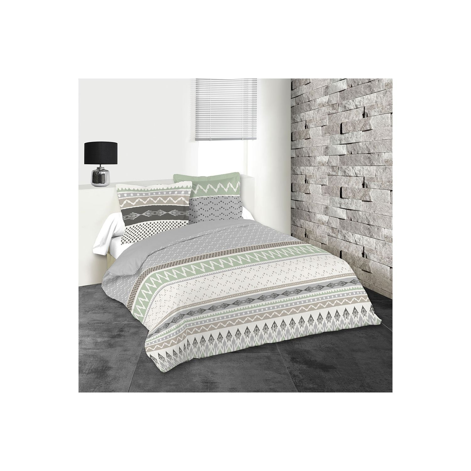 Housse de couette - 220 x 240 cm + Taies - Greeny