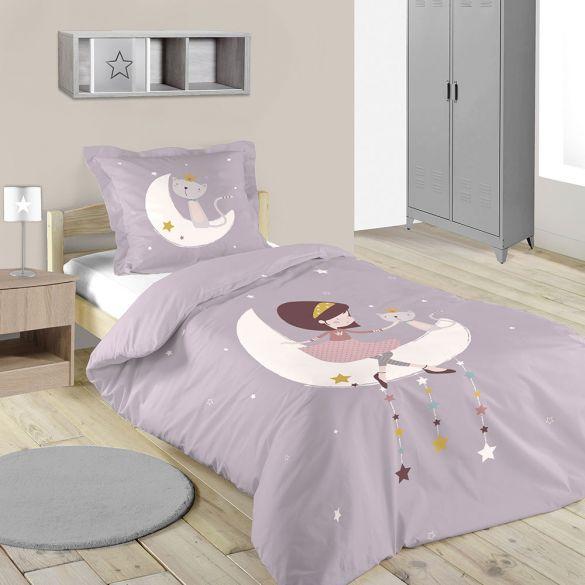 Housse de couette - 140 x 200 cm + 1 taie - Louise, la lune