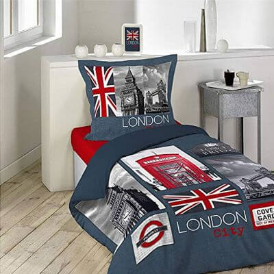 Housse de couette - London city - 140 x 200 cm + taie - 100% coton
