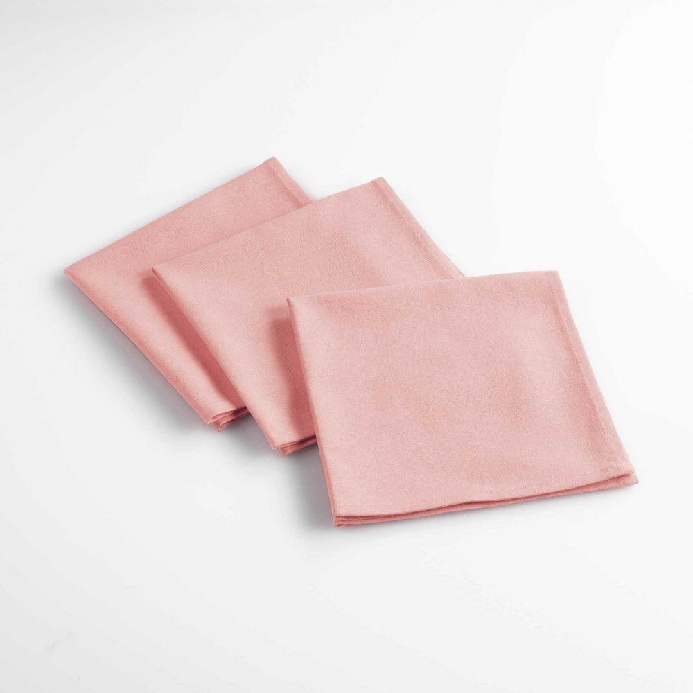 Lot de 3 serviettes de table - Unies - 40 x 40 cm - Coton : Couleur:Rose