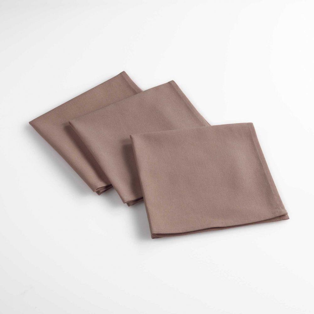 Lot de 3 serviettes de table - Unies - 40 x 40 cm - Coton : Couleur:Taupe