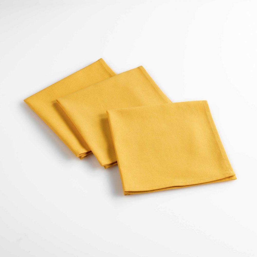 Lot de 3 serviettes de table - Unies - 40 x 40 cm - Coton : Couleur:Jaune