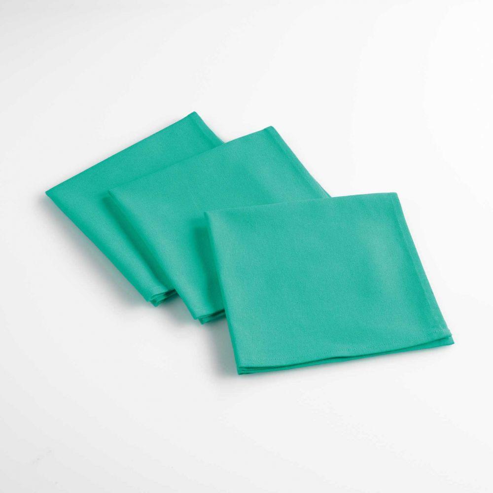 Lot de 3 serviettes de table - Unies - 40 x 40 cm - Coton : Couleur:Turquoise