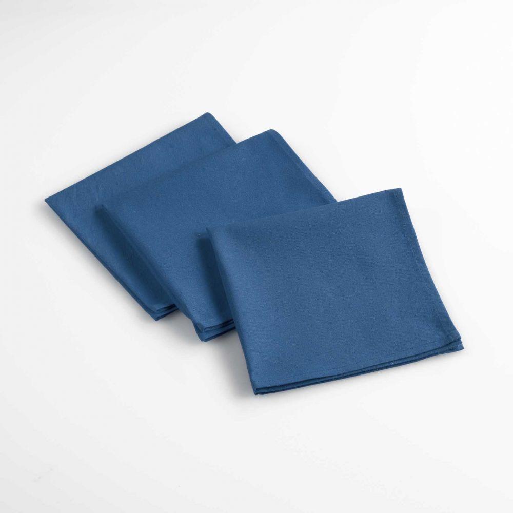 Lot de 3 serviettes de table - Unies - 40 x 40 cm - Coton : Couleur:Indigo
