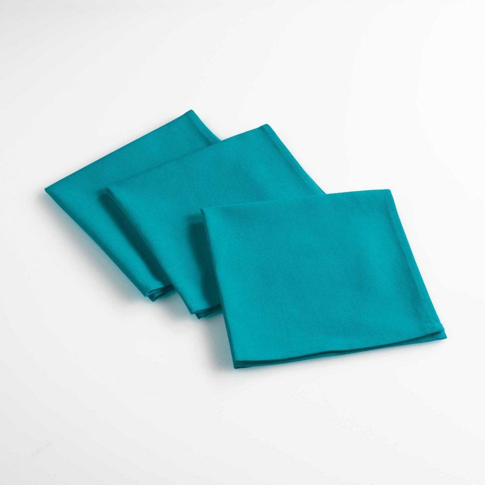 Lot de 3 serviettes de table - Unies - 40 x 40 cm - Coton : Couleur:Bleu
