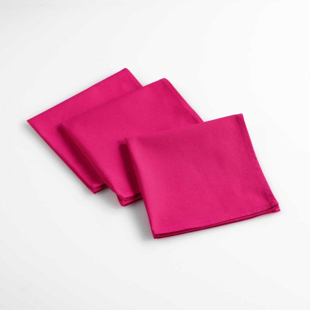 Lot de 3 serviettes de table - Unies - 40 x 40 cm - Coton : Couleur:Fuchsia