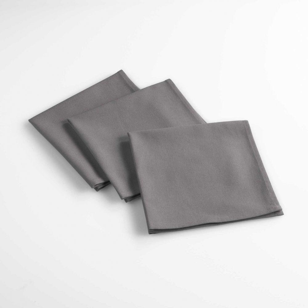 Lot de 3 serviettes de table - Unies - 40 x 40 cm - Coton : Couleur:Anthracite