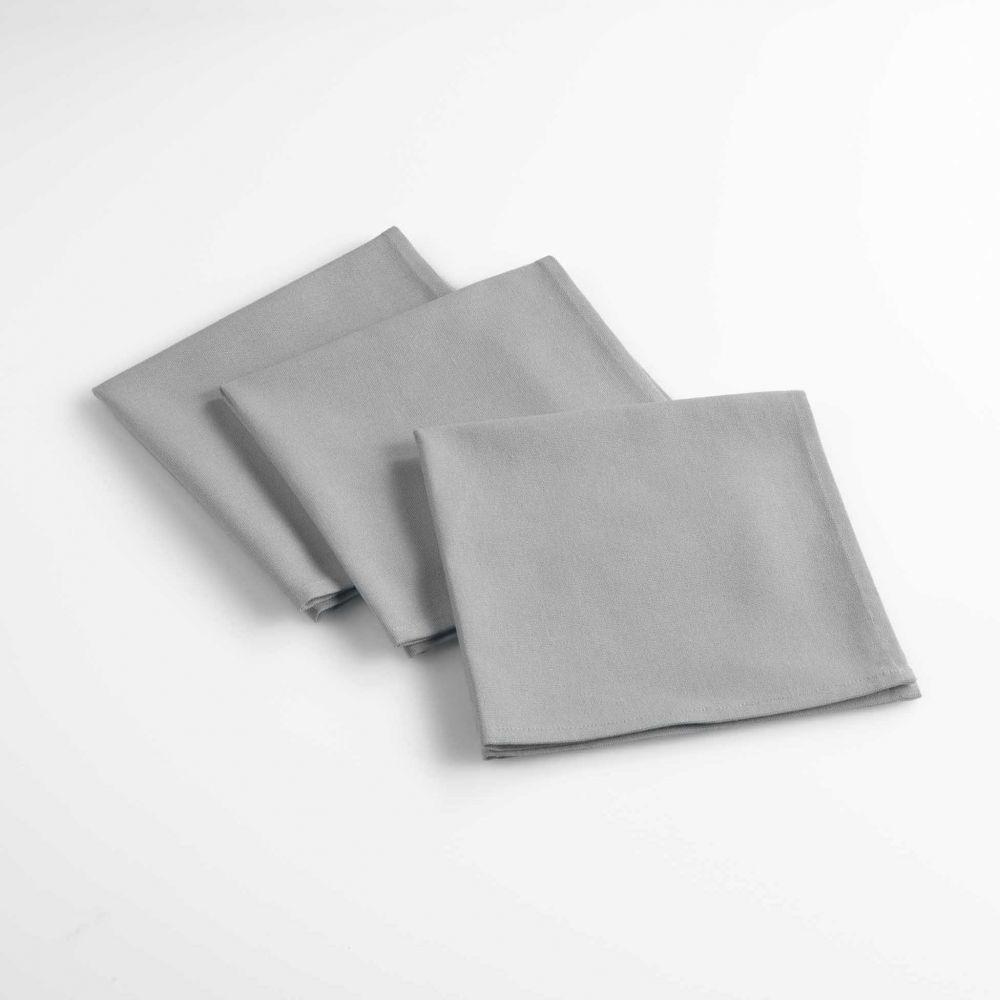 Lot de 3 serviettes de table - Unies - 40 x 40 cm - Coton : Couleur:Gris