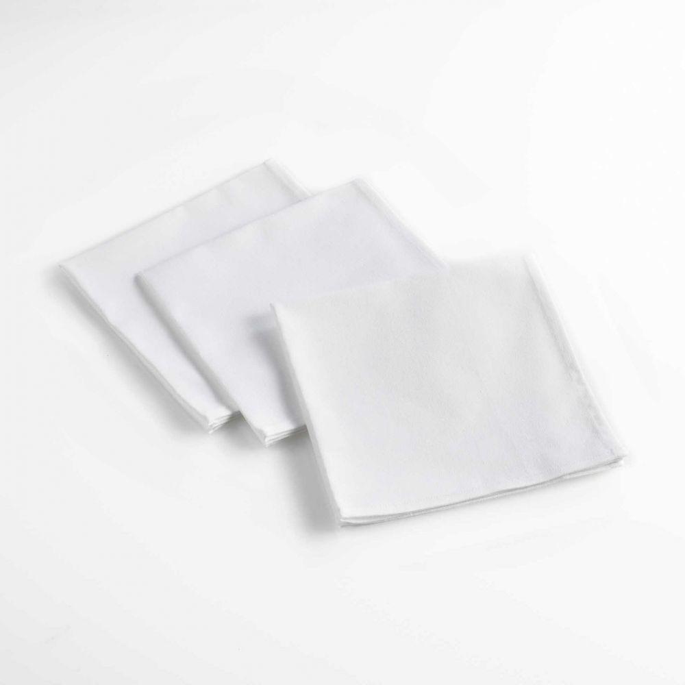 Lot de 3 serviettes de table - Unies - 40 x 40 cm - Coton : Couleur:Blanc