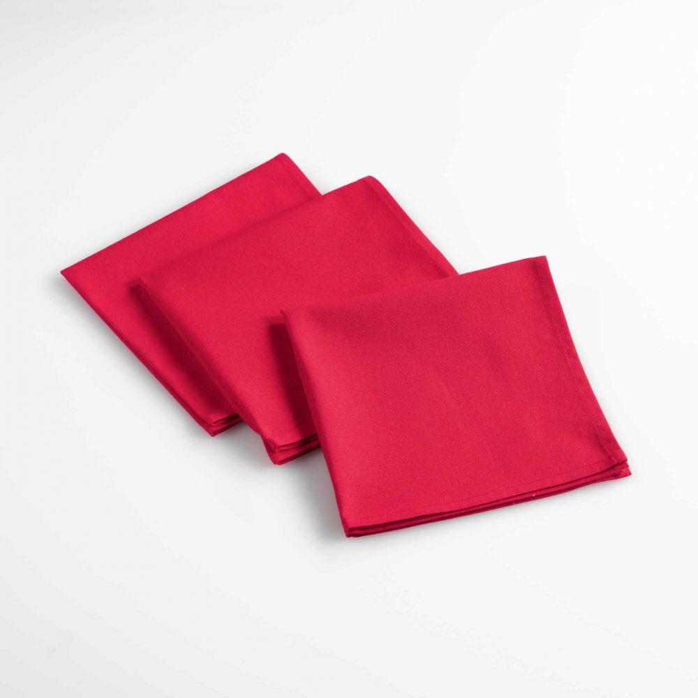 Lot de 3 serviettes de table - Unies - 40 x 40 cm - Coton : Couleur:Rouge
