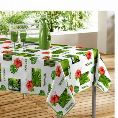 Nappe rectangle - Vert tropical - 140 x 240 cm - PVC