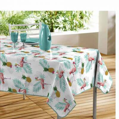 Nappe rectangle - Ananas et flamant rose - 140 x 240 cm - PVC