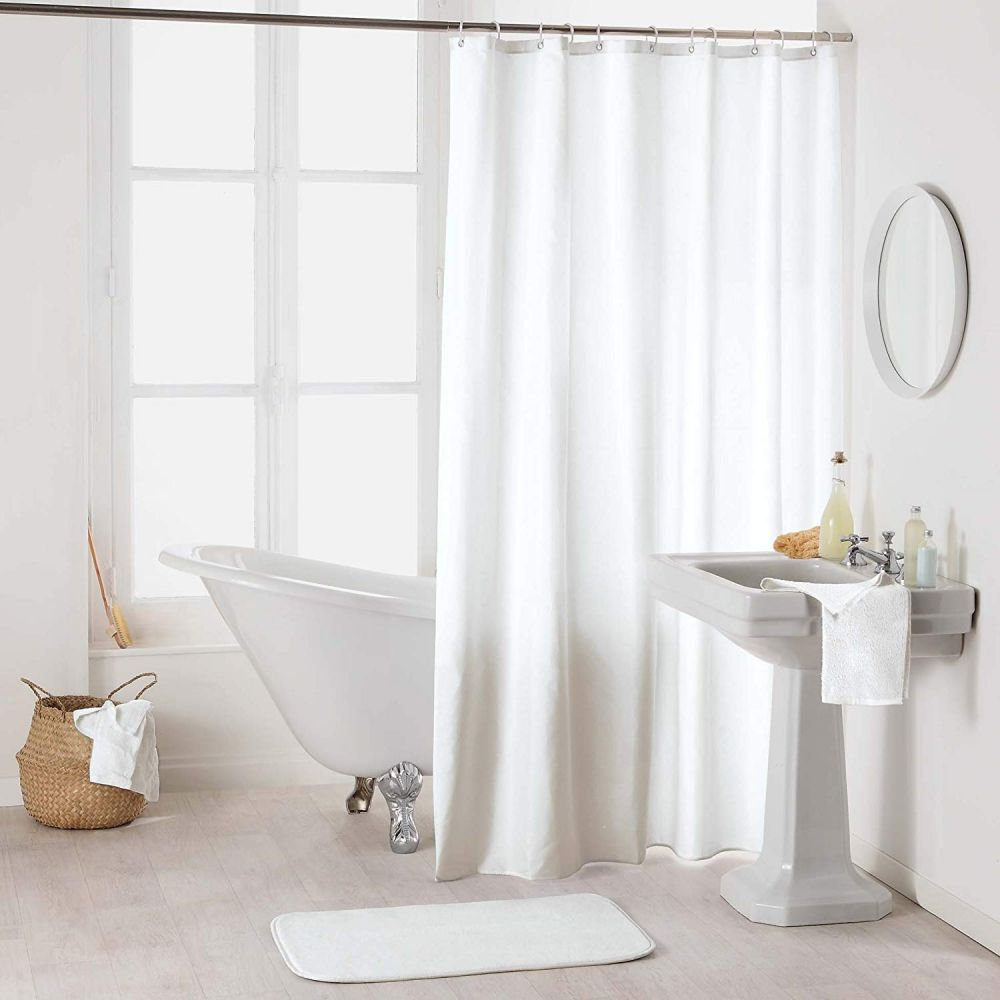 Rideau douche - Crochets - 180 x 200 cm - imperméable - Uni : Couleur:Blanc