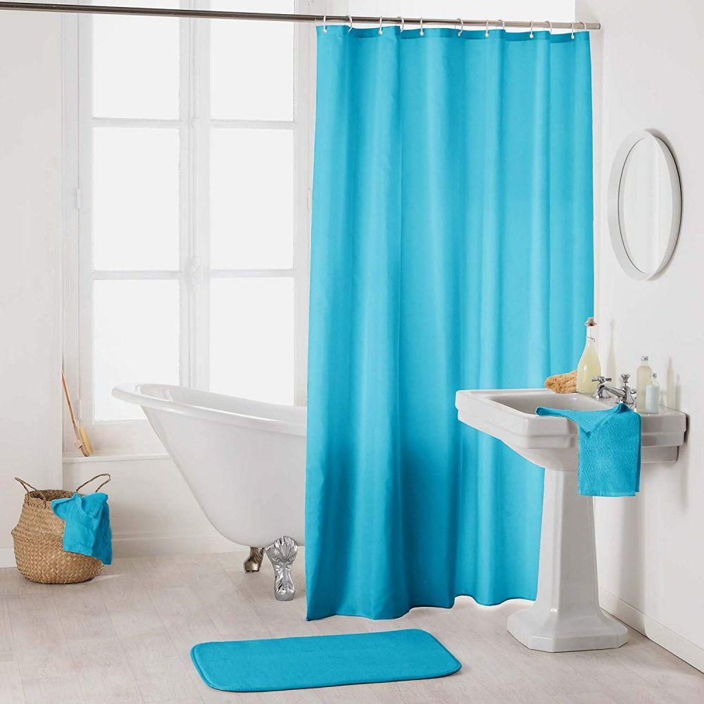 Rideau douche - Crochets - 180 x 200 cm - imperméable - Uni : Couleur:Bleu