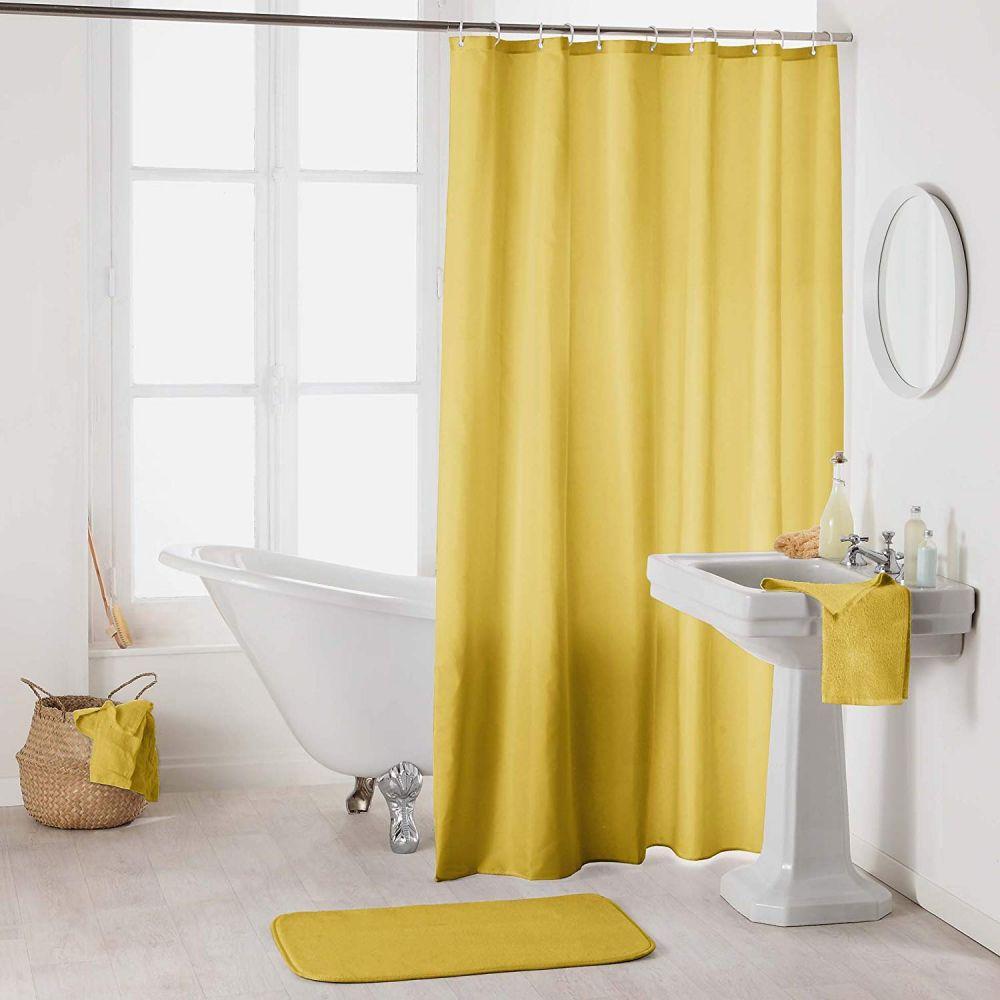 Rideau douche - Crochets - 180 x 200 cm - imperméable - Uni : Couleur:Miel