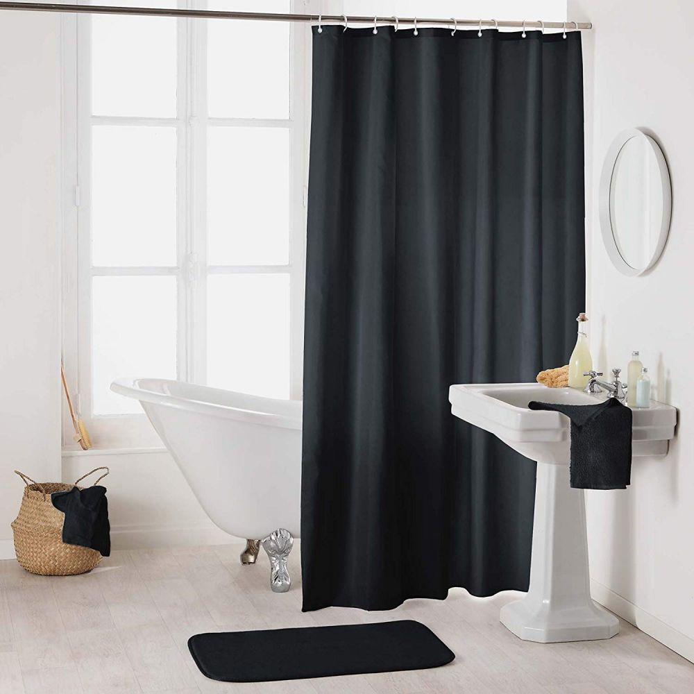 Rideau douche - Crochets - 180 x 200 cm - imperméable - Uni : Couleur:Noir