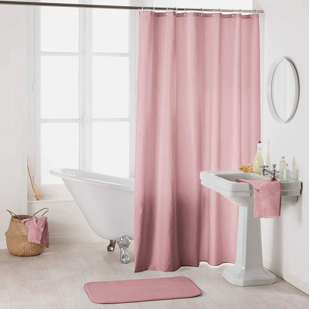 Rideau douche - Crochets - 180 x 200 cm - imperméable - Uni : Couleur:Dragée