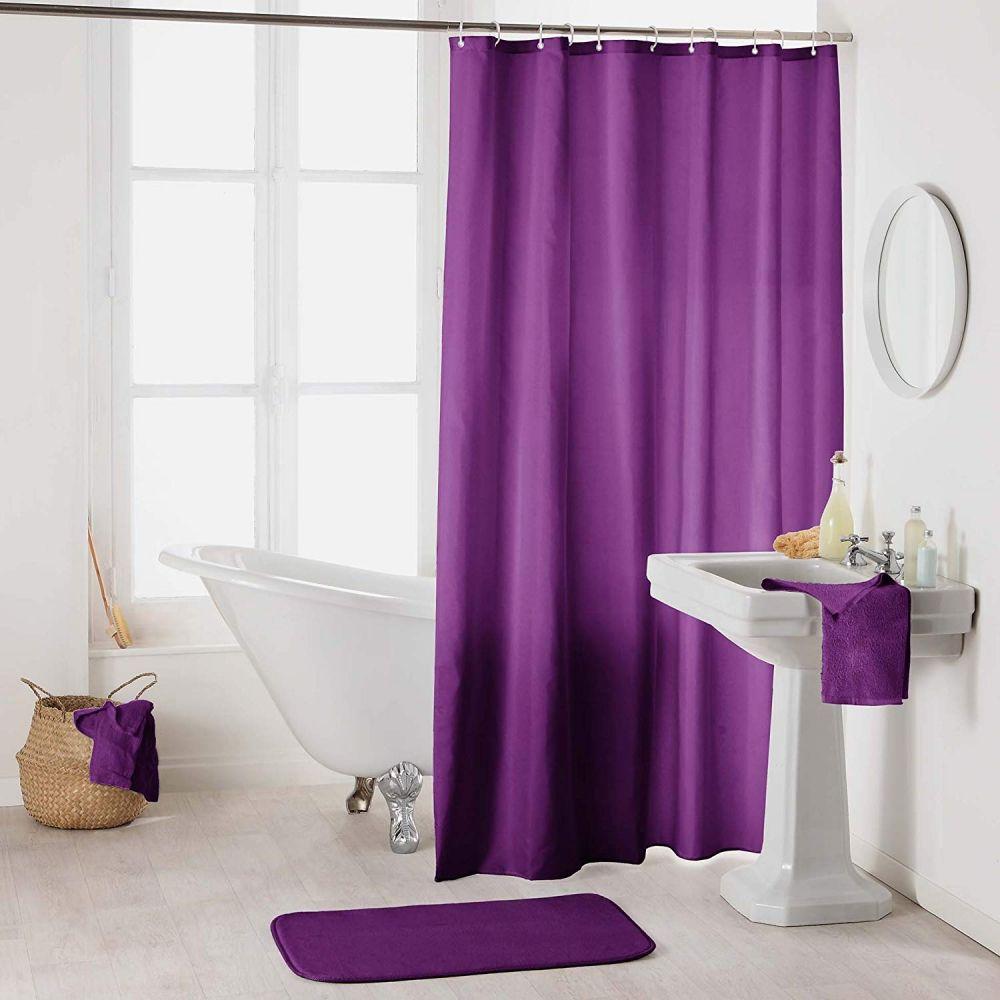 Rideau douche - Crochets - 180 x 200 cm - imperméable - Uni : Couleur:Prune