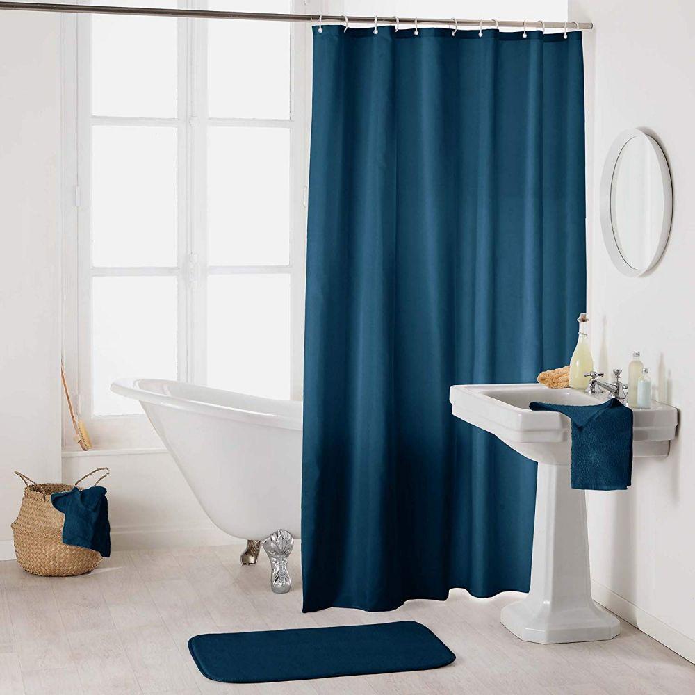 Rideau douche - Crochets - 180 x 200 cm - imperméable - Uni : Couleur:Pétrole