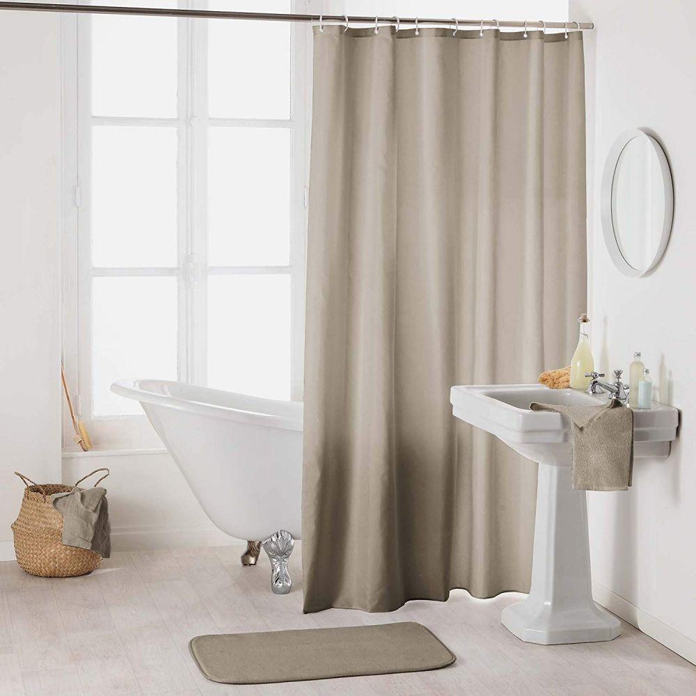 Rideau douche - Crochets - 180 x 200 cm - imperméable - Uni : Couleur:Taupe