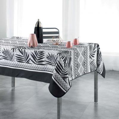 Nappe rectangle - Feuilles de palmier - noir et blanc - 150 x 200 cm - Polyester