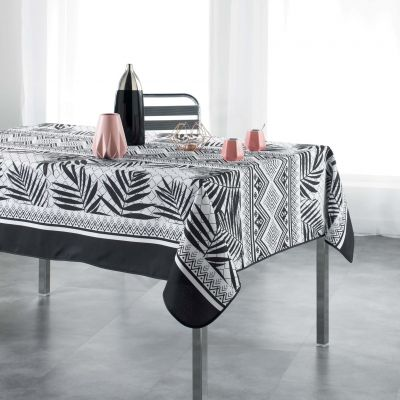 Nappe rectangle - Feuilles de palmier - noir et blanc - 150 x 240 cm - Polyester