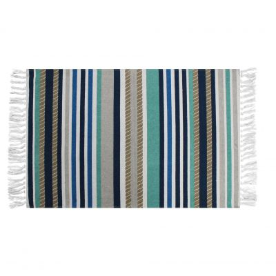 Tapis rectangle à franges - Rayures - 50 x 80 cm
