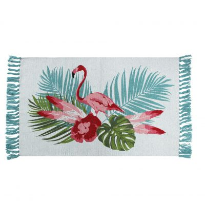 Tapis rectangle à franges - Palmier et flamant rose - 50 x 80 cm