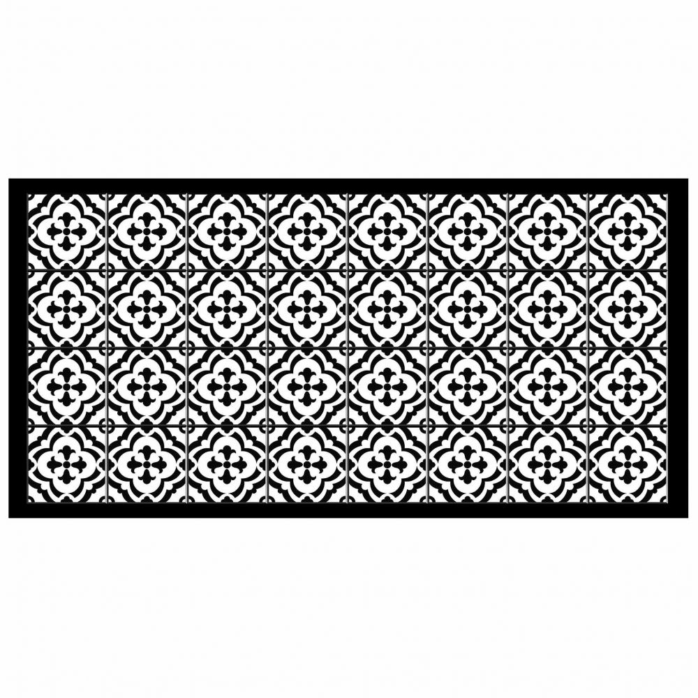 Tapis rectangle - Faïence et mosaïque - 50 x 100 cm - Vinyle : Couleur:Noir