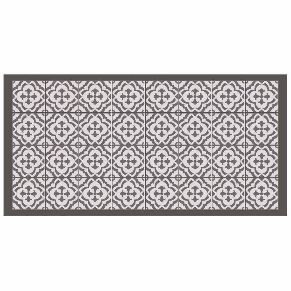 Tapis rectangle - Faïence et mosaïque - 50 x 100 cm - Vinyle : Couleur:Taupe