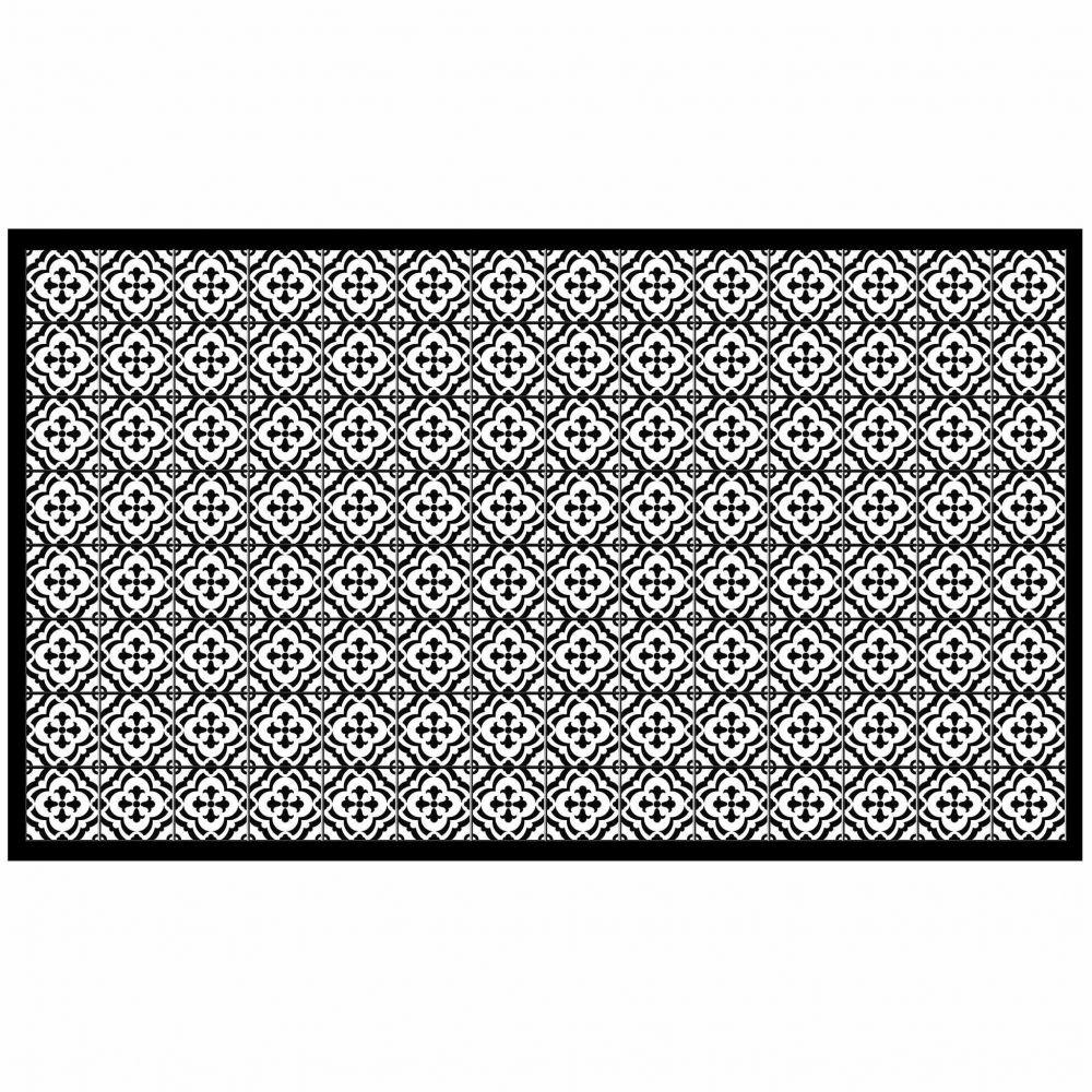 Tapis rectangle - Faïence et mosaïque - 100 x 170 cm - Vinyle : Couleur:Noir