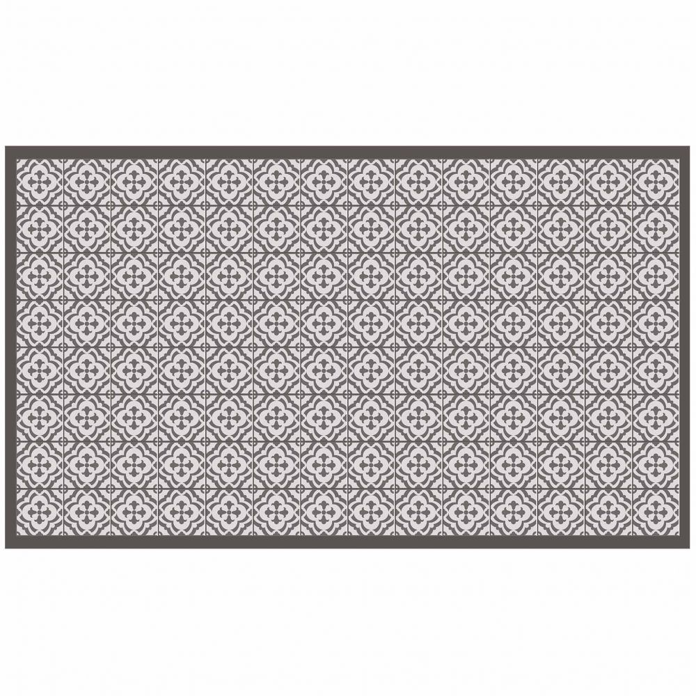Tapis rectangle - Faïence et mosaïque - 100 x 170 cm - Vinyle : Couleur:Taupe