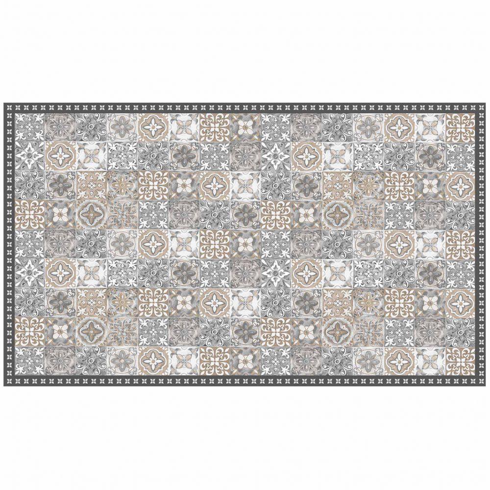 Tapis rectangle - Mosaïque et faïence - 100 x 170 cm - Vinyle : Couleur:Naturel