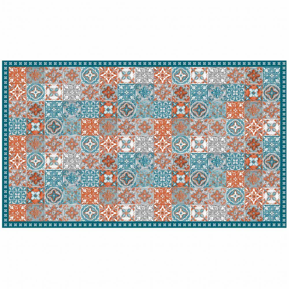 Tapis rectangle - Mosaïque et faïence - 100 x 170 cm - Vinyle : Couleur:Orange