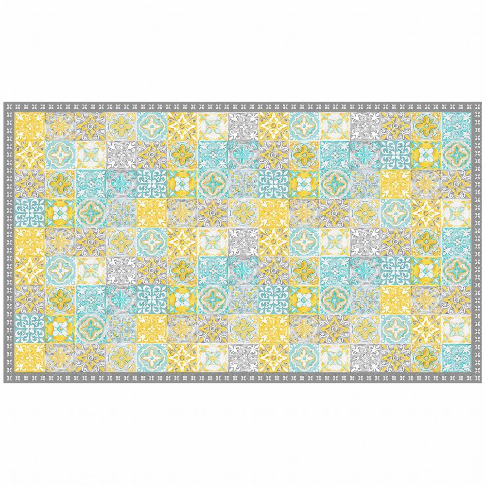 Tapis rectangle - Mosaïque et faïence - 100 x 170 cm - Vinyle : Couleur:Jaune