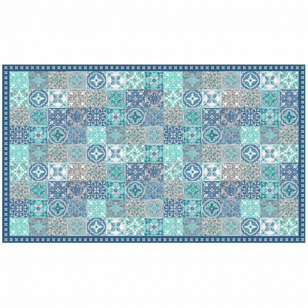 Tapis rectangle - Mosaïque et faïence - 100 x 170 cm - Vinyle : Couleur:Bleu