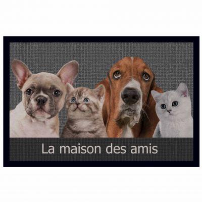 Tapis d'entrée rectangle - Chiens et chats - 40 x 60 cm