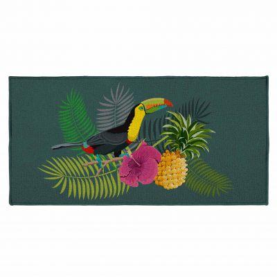 Tapis déco rectangle - Ananas et toucan - 57 x 115 cm