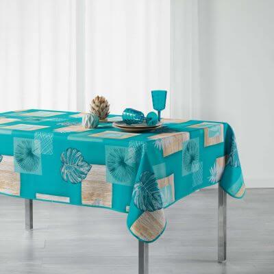 Nappe rectangle - Palmier bleu - 150 x 240 cm - Polyester