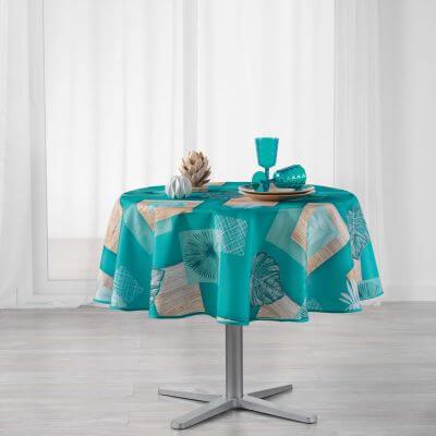Nappe ronde - Palmier bleu - Diamètre :  180 cm - Polyester