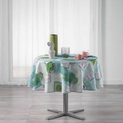 Nappe ronde - Attrape-rêves et palmier - Diamètre :  180 cm - Polyester