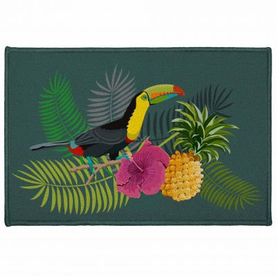 Tapis déco rectangle - Ananas et toucan - 40 x 60 cm